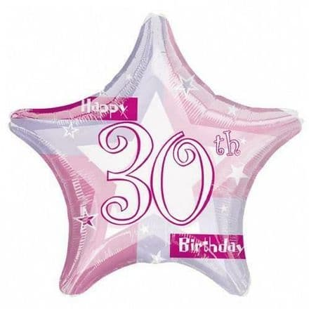 "Age 30 Happy Birthday Pink Shimmer 19"" Foil Balloon"
